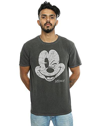 Disney Herren Mickey Mouse Distressed Face Gewaschen T-Shirt Holzkohle X-Small -