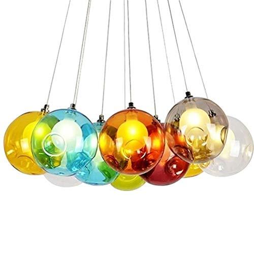 QXX Wohnzimmerleuchter, Lampe inklusive höhenverstellbarem Kind Moderne Kronleuchter Pendelleuchte hängenden Kronleuchter aus Glas bunt (Size : 10 Lights) -