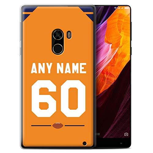 eSwish Personalisiert Individuell Amerikanischer Fußball Jersey Gel/TPU Hülle für Xiaomi Mi Mix 2 / Orange/Blau Design/Initiale/Name/Text Schutzhülle/Case/Etui