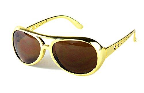Seiler24 Goldene King Elvis Brille mit Braunen Gläsern