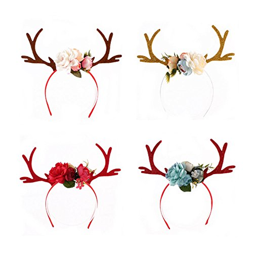 TOPmountain Christmas blanc Antlers Ear Headband Hair Hoop With Flowers Gifts Toys Girls Birthday