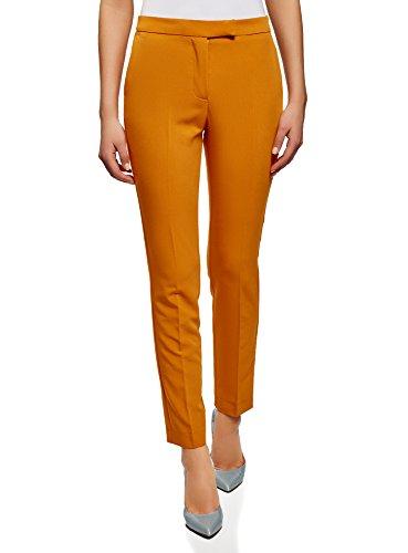 oodji Collection Damen Klassische Eng Zulaufende Hose, Orange, DE 40 / EU 42 / L