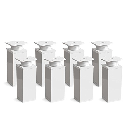 Design-Möbelfüße Doppelpack, 2 x 4er Set (8 Stück), höhenverstellbar | Vierkant-Profil: 40 x 40 mm | Sossai MFV1-WH | Farbe: Weiß | Höhe: 100mm (+20mm) | Material: Aluminium | Holzschrauben inklusive