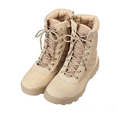 Zhuhaixmy Leder Side Zip Wüste Armee Kampf Patrol Stiefel Taktische Cadet Military Jungle 7 Zoll Polizei Arbeitsschuhe Beige