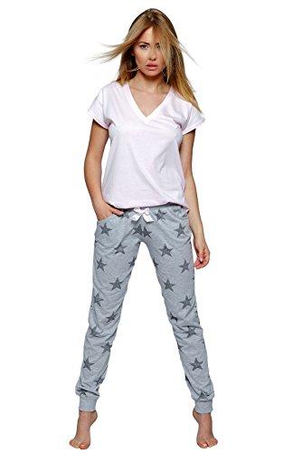 SENSIS stillvoller Baumwoll-Pyjama Schlafanzug Hausanzug aus feinem T-Schirt und bequemer Hose, Made in EU (S (36), hellgrau mit Sternen) (Sterne Pyjama Frauen)