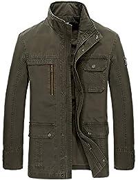 Karmder Primavera Uomo Plus Size M-4XL Militare Casual 100% Giacca in Puro  Cotone 06b9e9e4e8e