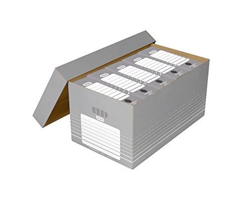 ELBA 100333273 Archivbox Maxi 5 Stück mit abnehmbarem Deckel und kartoneinsatzrahmen für Hängeregistraturen auch mit Reiter in der Farbe grau