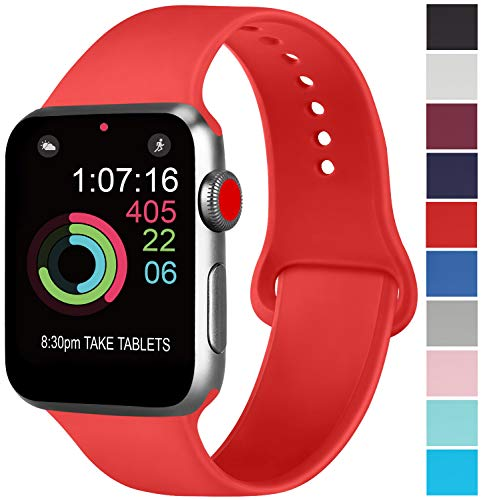 AK kompatibel Apple Watch Armband 42mm 38mm 44mm 40mm, Weiche Silikon Sport Ersatz Armband kompatibel iWatch Series 4, Series 3, Series 2, Series 1 S/M M/L (07 Orangerot, 42/44mm M/L)