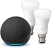 All-new Echo Dot (4th generation), Charcoal + Philips Hue White Smart Bulb Twin Pack LED (B22) | Bluetooth &am
