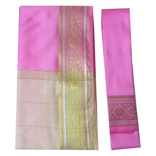 (indischerbasar.de Brokat Sari beige rosa Goldbrokat traditionelle Bekleidung Indien Tracht Bindi Wickelkleid Polyester)