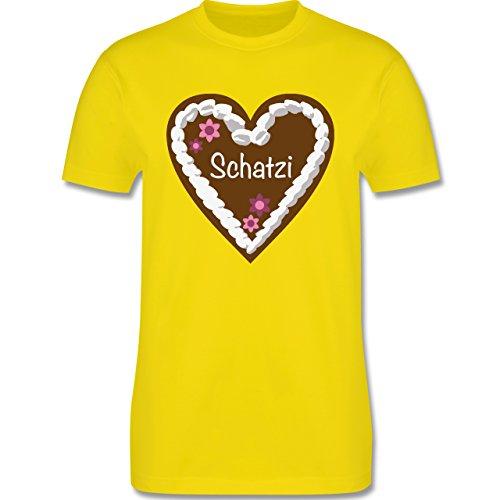 Oktoberfest Herren - Lebkuchenherz Schatzi - Herren Premium T-Shirt Lemon Gelb