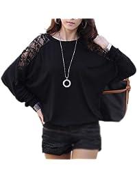 Neu Damen T-Shirts Shirts Tops Bluse Oberteil Fledermaus schwarz