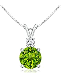 Silvernshine Women's 1.20 Ct Round Peridot V-Bail Pendant With Sim. Diamond In 14K White Gold Fn