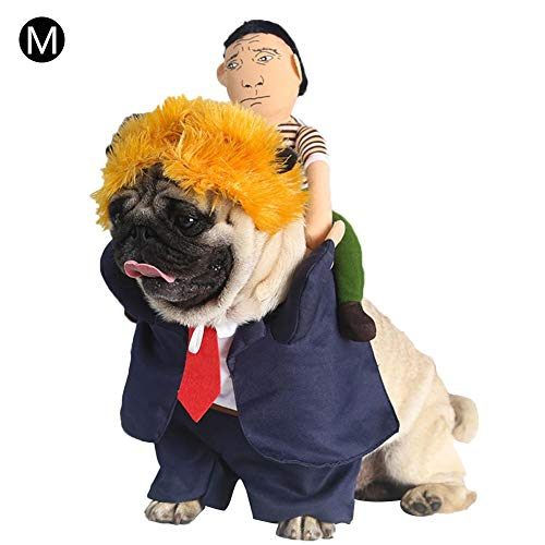 Stehend Kostüm Hunde - DonLucancy Haustier Kostüm Hund Halloween Kleidung Lustiger Präsident Zurück Mann Gelbes Haar Kamel Stehend Ändern Kleid Weihnachten Hund Kostüm Party Kleid