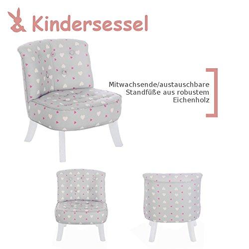 Somebunny 4055168104097 Kindersessel im exklusiven Herzen Design, grau
