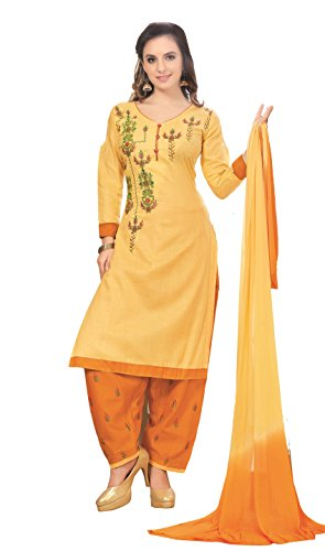 Oomph! Cotton Embroidered Salwar Suit Dupatta Dress Material - Lemon Yellow