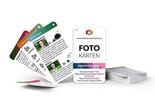 Fotokarten Porträtfotografie - Spickzettel für gelungene Porträts von Familie, Kinder & Menschen - Ideal für Familienfotos im Urlaub - Lernkarten