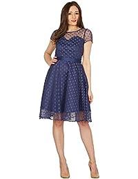 Swing Abbie robe à pois pois imprimé bleu foncé - Vintage, années 50, Rockabilly - M / NL38 - Lindy Bop