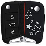 kwmobile Funda para Llave de 3 Botones para Coche VW Golf 7 MK7 - Carcasa Protectora [Suave] de [Silicona] - Case de Mando de Auto con diseño de Varias Estrellas
