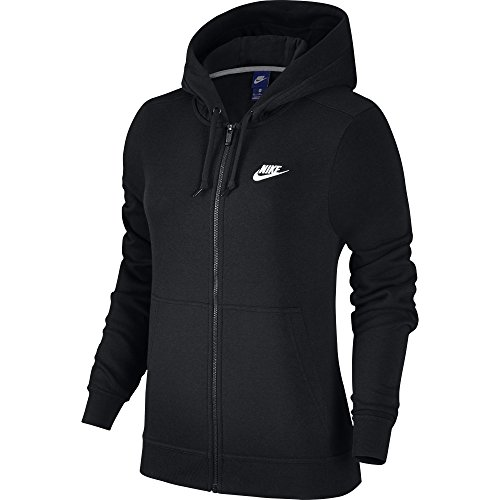Nike Damen Sportswear Fleece Langarm Oberteil mit Kapuze Full-Zip, Black/Black/Black/White, XL