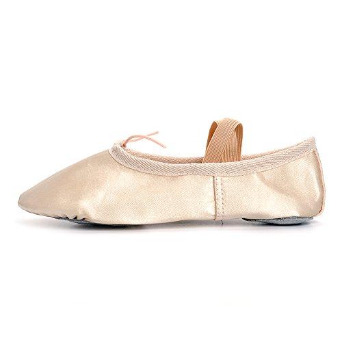 Estamico Mädchen und Frauen Classic Ballett flache Tanzschuhe Golden