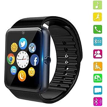 PHIPUDS Smartwatch Reloj Inteligente Smart Watch con Cámara Soporte de Pantalla Táctil Tarjeta SIM Compatible con Samsung Sony HTC Huawei Xiaomi ...
