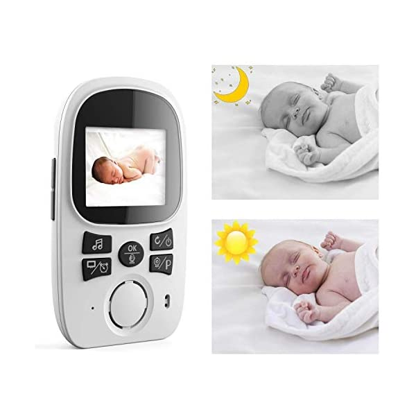 PowCube 2.4 inch Wireless Video Baby Monitor Night Vision Temperature Sensor 2 Way Talk and VOX (White) PowCube Two-Way Audio Communication:You can hear the crying or sounds from your baby immediately with Bmon Wireless Baby Monitor and you can talk back to soothe your baby, or sing a lullaby to comfort your baby! Also you can remotely choose a beautiful lullaby to put your baby to sleep. 2.4 inch LCD Display:This unique baby monitor features a High Resolution Display with 2x zoom magnification which can deliver streaming live view whenever you check in.No need to connect phone or other device, plug and play with 2 power adapters, operate everything from parent end. Temperature Sensor:Temperature detection helps you monitor the room temperature of your baby all day long. 8