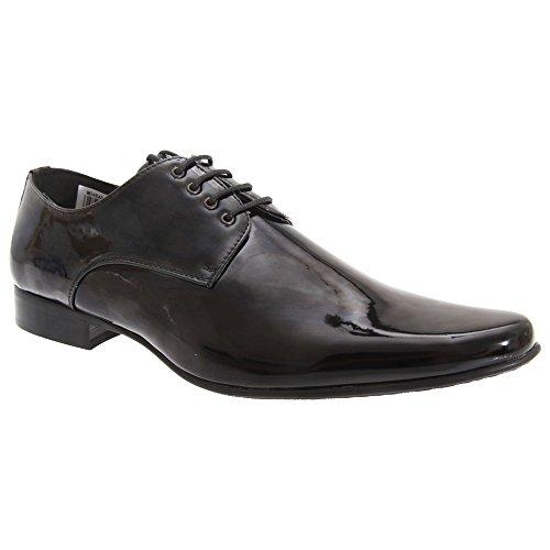 Goor - Chaussures de ville en cuir verni à lacets - Homme noir verni