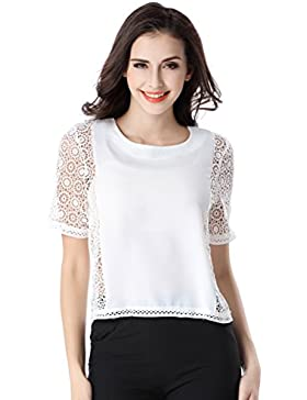 Glorria Women Elegant Chiffon Print Short Batwing Ruffles Sleeve Blouses Summer Casual Fashion Wear to Work White...