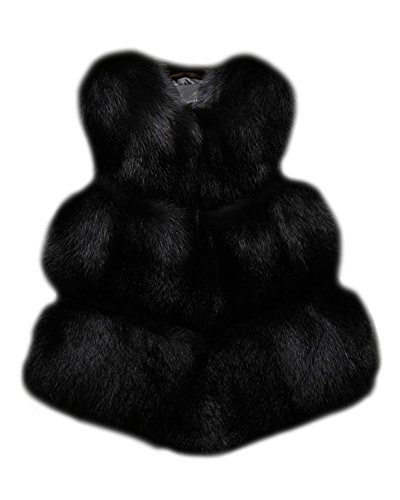 Donna Corti Parka Gilet Invernale Cappotto Di Falso Pelliccia Senza Maniche Giacchetto Giubbotto Cardigan Giacca Nero