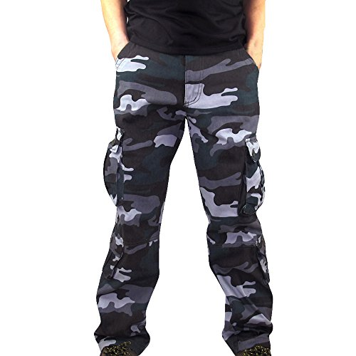 UJUNAOR Herren Chinohosen Cargo Trainingshose Jogginghose Sporthose mit Camo-Muster Street Style(Blau,EU 42/CN 29)