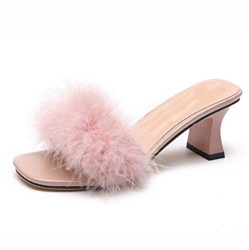 TWGDH High Heels Sandalen Kunstpelz Flip Flop Damen Casual Open Toe Hausschuhe Für Indoor Outdoor,Pink,36