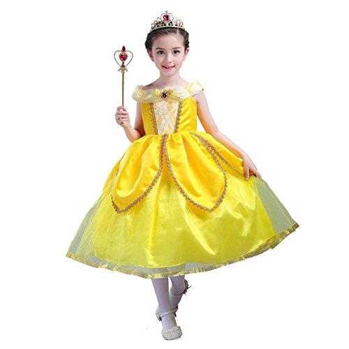 Blumen Mädchen Kleid Kind Tulle Chiffon Hochzeits Geburtstagsfeier Kind Brautjunfer Prinzessin Weihnachtshalloween Kronen Wand Maske . Yellow . 100Cm