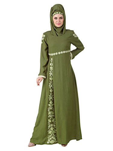 MyBatua Afsa Green Beautiful Muslim Eid Wear Burqa Abaya AY-483 (M)