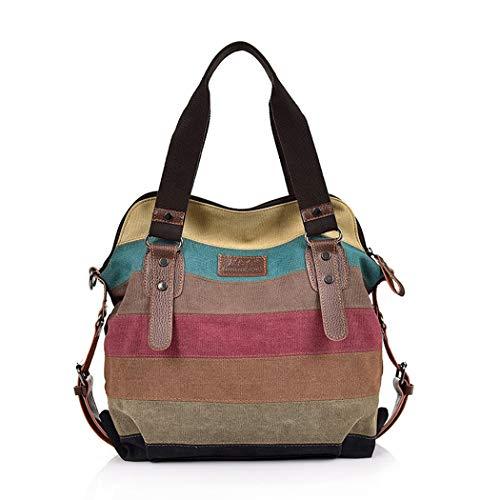 Gestreifte Damen Handtasche (Lfny-bagCanvas Tasche Multi-Color gestreifte Handtasche Damen Umhängetasche Schulter Diagonale Tasche Canvas Tasche mit großer Kapazität Handtasche,Contraststitching)