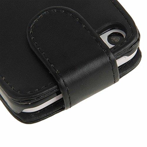 wkae Schutzhülle Fall & Cover vertikal Flip Leder Case mit Kreditkartenfach für iPhone 5C schwarz