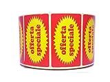Plaxi Rouleau de 1000étiquettes autocollantes avec inscription «Offerta Speciale», Ø 40mm, pour supermarchés et magasins
