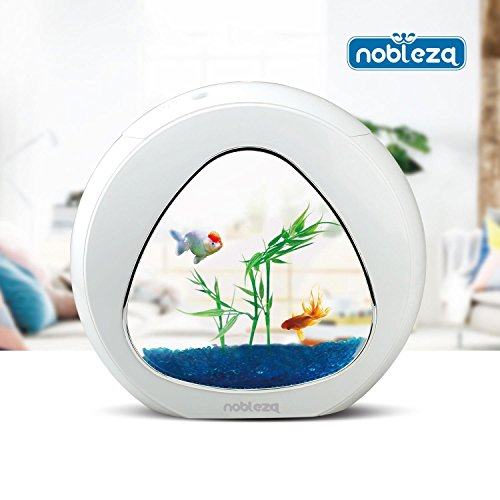 Nobleza 030026 - Acuario pecera de diseño moderno con ventana de cristal color Blanco. Capacidad de 4L