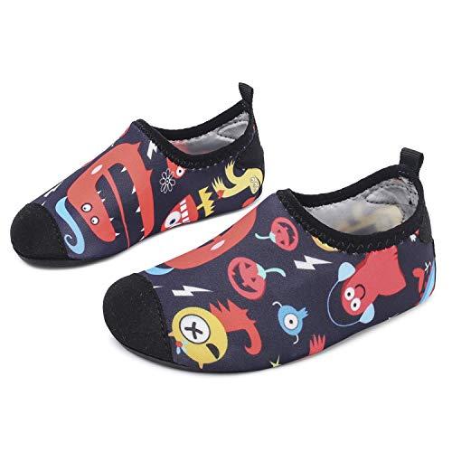 L-RUN Jungen Leichte Wasserschuhe Weiche Quick-Dry Aqua Socken Halloween 2.5-3 = EU18-19
