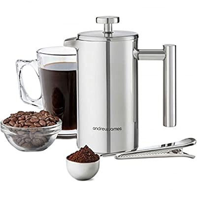 Andrew James Cafetière French Coffee Press in Stainless Steel | Double Walled Insulated | Includes Measuring Spoon and Bag Sealing Clip by Andrew James