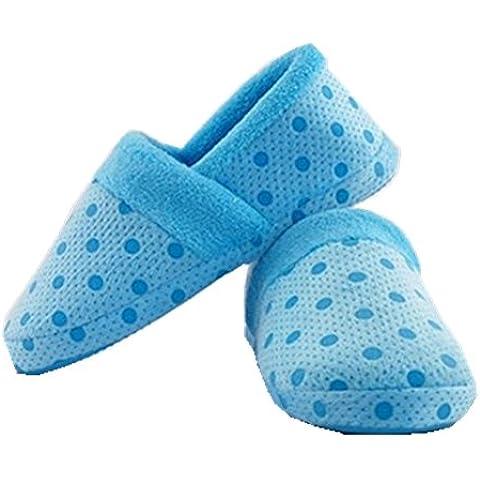 Las mujeres de Kasit caliente suave de la felpa Comfort Sole zapatillas de interior antideslizante talón plano invierno de la piel Dot Shoes - Blue L