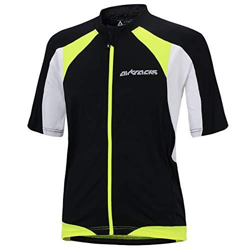 Airtracks Fahrradtrikot Kurzarm Pro-T - Radtrikot - Jersey - Reißverschluss - Atmungsaktiv - Schnelltrocknend - Reflektoren (schwarz-weiß, XL) -