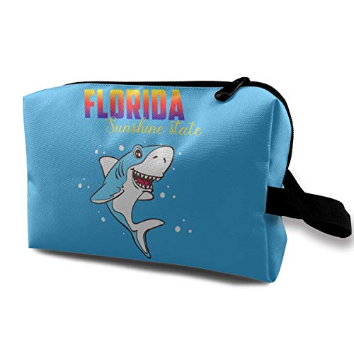 cabe2e64cc56 Florida Sunshine State Shark Travelling Makeup Handbag Cosmetics Bag Zipper