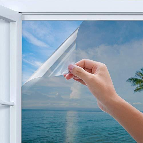 HUHUDAY folie Sonnenschutzfolie, Thermofolie für Fenster Selbsthaftend, Spiegelfolie und Hitzeschutzfolie AußEn Und Innen, Fensterfolie für Schlafzimmer Uv-Schutz Sichtschutz Silber 45 x 200CM