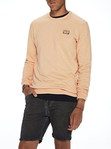 Scotch & Soda Herren Sweatshirt Ams Blauw Garment Dyed Sweat with Chest Embroidery Orange (Faded Spice 1747)
