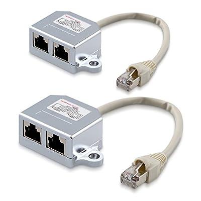 kwmobile 2X Dédoubleur câble réseau - Répartiteur Cat. 5e RJ45 fiche Alimentation Ethernet - Distributeur T vers 1x RJ45 réseau LAN et 1x ISDN par KW-Commerce