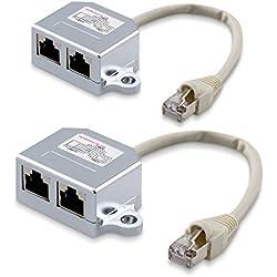 kwmobile 2X Dédoubleur câble réseau - Répartiteur Cat. 5e RJ45 fiche Alimentation Ethernet - Distributeur T vers 1x RJ45 réseau LAN et 1x ISDN