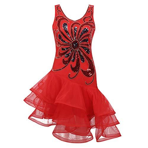 M Und Rotes M Kostüm - Alvivi Damen Pailletten Kleider Tanzkleid Latein Rumba Cha Cha Tango Samba Ball-Kleid Gymnastikanzug Damen Party Kostüm Kleid Rot M
