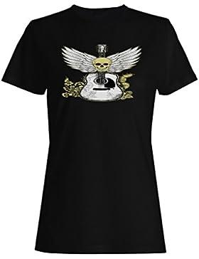 Música del cráneo, de la guitarra y de las alas camiseta de las mujeres nn94f