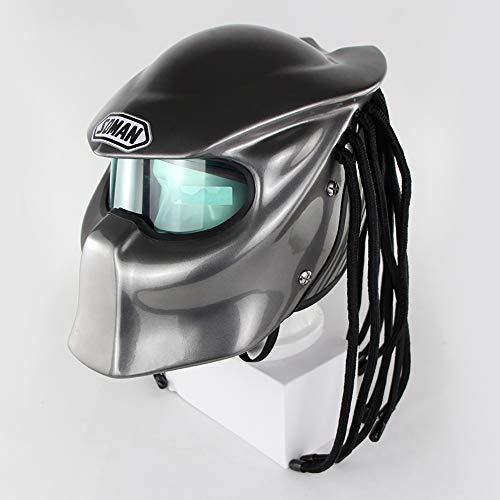 JohnnyLuLu Casco Full Face Moto Crash Personality Iron Warrior, Lenti di Certificazione DOT Lenti Anti-Nebbia in Fibra di Carbonio Predator con luci a LED,Silver,XL
